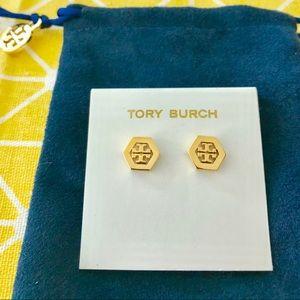 NEW Tory Burch Hexa Logo Stud Earrings Gold Tone